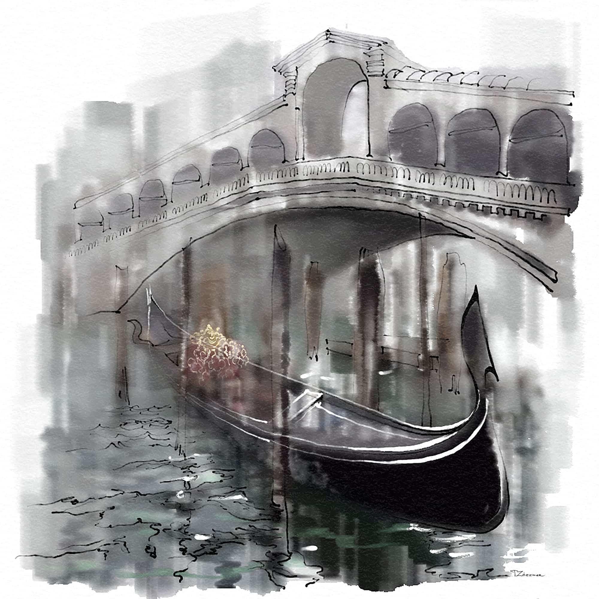Fog in Venice Ralto Bridge - Tatiana Zhezmer
