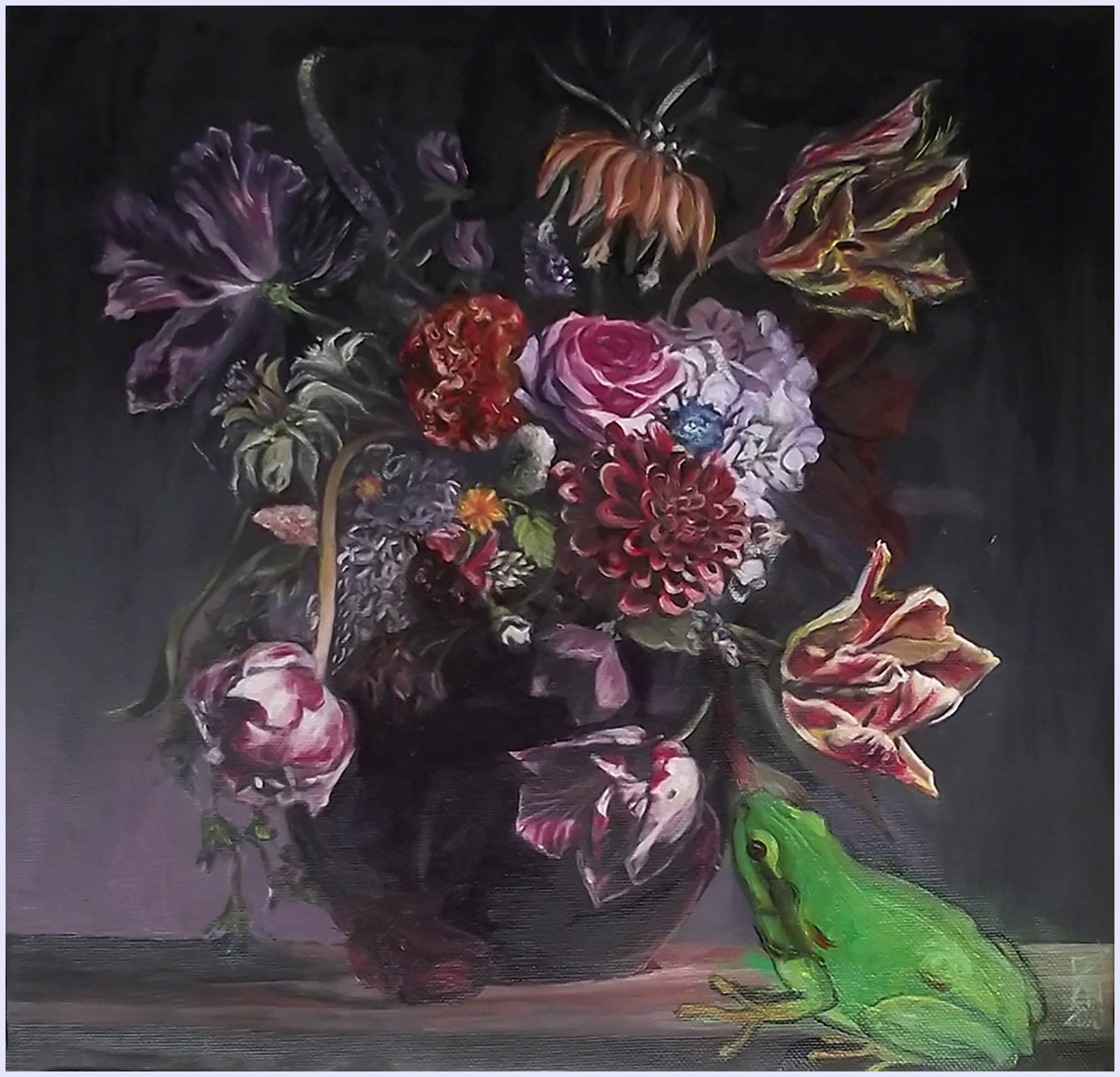 Still life Flowers and frog