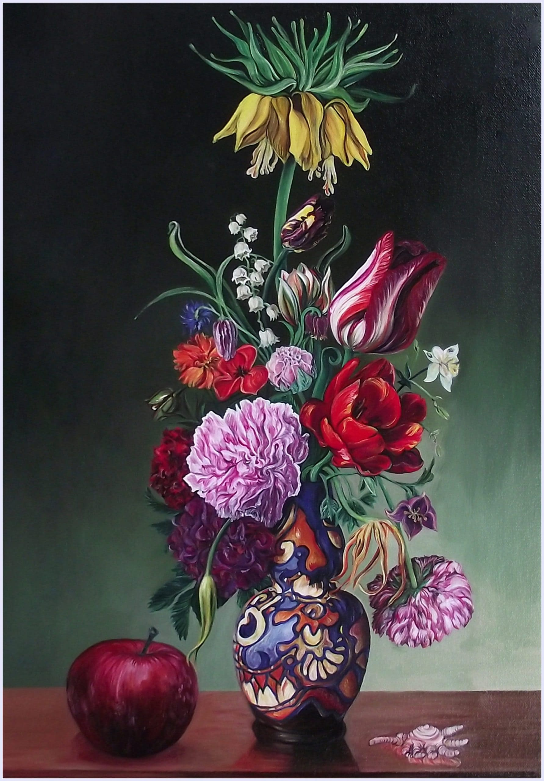 Still life spring bouquet with yellow tulip