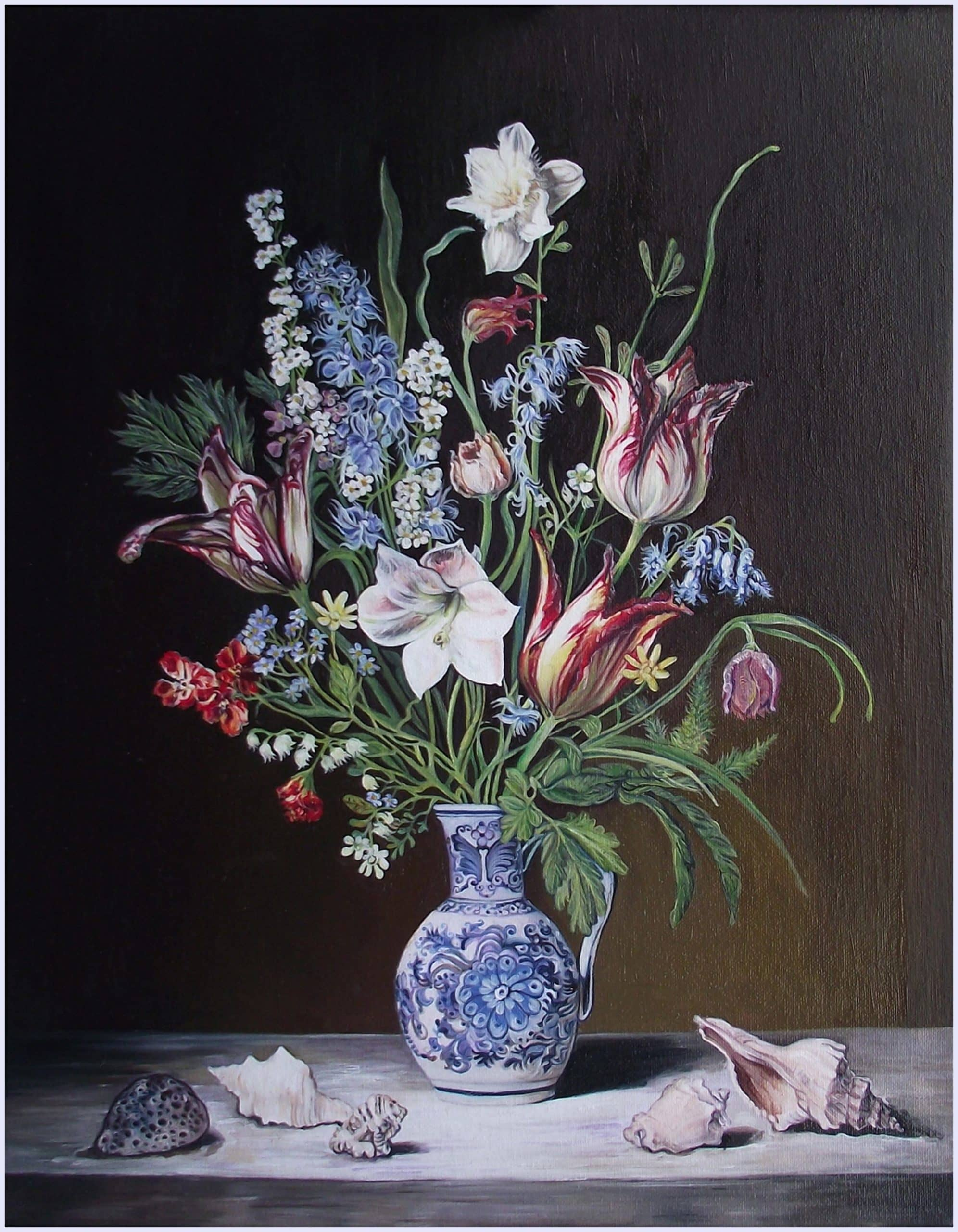 still life with daffodil and tulips